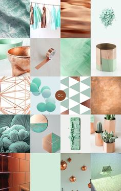 Contemporary copper, mint and turquoise shades