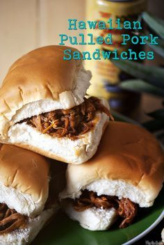 Hawaiian Pulled Pork Sandwiches - served these at my son's graduation luau party on Hawaiian rolls. Pork Recipes, Crockpot Recipes, Cooking Recipes, Recipies, Hawaiian Luau Party, Hawaiian Rolls, Hawaiian Theme Party Food, Hawaiian Sandwiches, Hawaiian Bbq