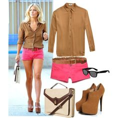"""""""Mollie King inspired Tan and Neon outfit"""" by natihasi on Polyvore"""