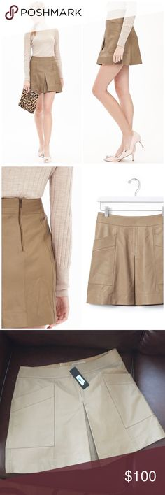 """Banana Republic Pleated Leather Mini Skirt Gorgeous piece by the Heritage line at banana. Lamb leather. About 16.5"""" length. Color is majave. Banded waist. Exposed back zip. Fully lined. Offers welcome through offer tab. No trades. 10715161121 Banana Republic Skirts Mini"""