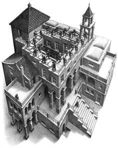 M.C. Escher, Klimmen en dalen, 1960  #kunst #wetenschap Dit kunstwerk is gemaakt door een Nederlandse kunstenaar die zich baseert op de wetenschap op een fenomenale visuele effecten in zijn kunstwerken te verwerken. Hier wordt een vorm van gezichtsbedrog gebruikt namelijk Trompe-l'oeil.