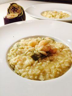 Risotto crema di carciofi e gamberetti , un risotto delicato e abbinamento di sapori perfetto .