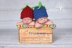 Newborn Twin Grapes Crochet Baby Hat Prop by PerfectlySweetProps, $30.00