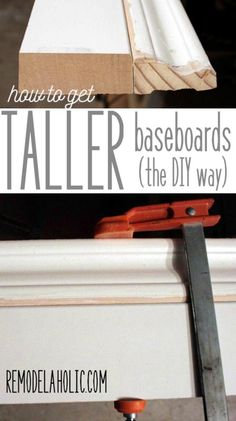 Easy way to DIY taller baseboards, using your existing trim - as little as 20 cents per foot, wow!