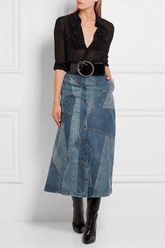 Saint Laurent | Patchwork denim midi skirt | NET-A-PORTER.COM