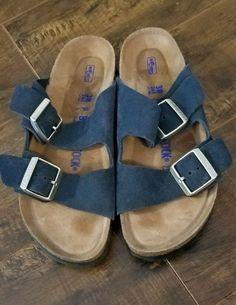 ccc99a2fd90 Birkenstock Arizona Navy Suede Sandal 38 EU N - 7 US Soft Footbed  fashion