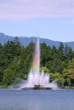 Fountain in Lost Lagoon, Stanley Park, Vancouver, Canada.
