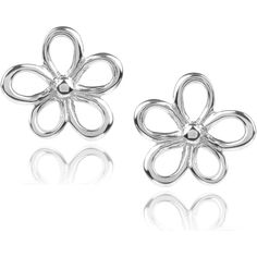 Journee Collection Sterling Silver Flower Stud Earrings grey ($28) ❤ liked on Polyvore featuring jewelry, earrings, grey, long earrings, stud earring set, flower stud earrings, butterfly clasp earring and grey earrings