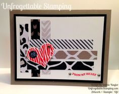 Unfrogettable Stamping | Quick & Easy card featuring the Go Wild DSP stack and Groovy Love stamp set by Stampin' Up! featuring the SC109 sketch for week of 2015-07-27