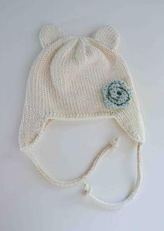 Knit Baby Bear Ear Flap Hat
