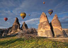 Cappadocia: Hot Air Balloons over Fairy Chimneys Air Balloon Rides, Hot Air Balloon, Turkey Europe, Volcanic Ash, Capadocia, Balloon Flights, Geology, Monument Valley, The Good Place