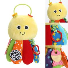 Cute Rattle Baby Stuffed Plush Toy Handbells with Safe Non-toxic Baby Teethers Octopus Ring bell Developmental Toys