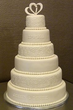 Weddingcake. My first time 6 layers.  At every second pearl at the bottom of a tier sticks a silver mini sugarpearl
