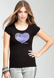 bebe bebe Logo Threaded Heart Shirt - WEB EXCLUSIVE