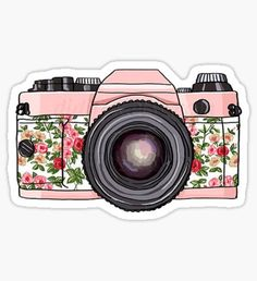 Retro pink photo camera floral print Printable Digital by DidiFox, Camera Drawing, Camera Art, Laptop Stickers, Cute Stickers, Tumblr Stickers, Pink Photo, Vintage Diy, Vintage Floral, Vintage Cameras