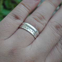 Platinum plated sterling silver wedding bands rings