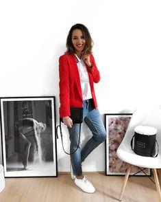 """89783e33ebe Lily on Instagram  """"R e d ❤  outfit  outfitoftheday  smile  smilepower  red  Blazer Sarina  sezane Blouse  lennybparis Jean  zara (old) Baskets…"""""""