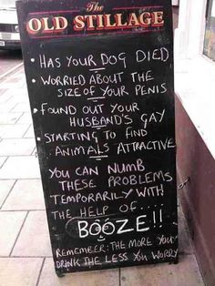 Brit humour (because it is gorgeously politically incorrect but real ; ): Pub sign: worry