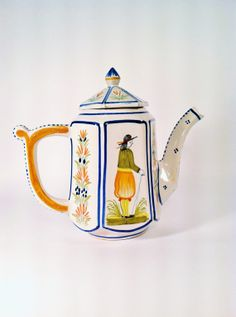 Henriot Quimper French Coffee Pot w/ Lid Hand-Painted