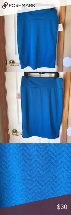 NWT Lularoe Cassie Skirt Size XL Royal blue Cassie Skirt from LuLaRoe. Pencil type skirt with wide waistband. Stretchy material, chevron print, new with tags  LuLaRoe Skirts Pencil