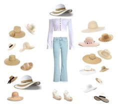 """Sun hats for dazezzzz"" by penelope-petrucci ❤ liked on Polyvore featuring M.i.h Jeans, Yves Saint Laurent, August Hat, Eric Javits, Lands' End, SONOMA Goods for Life, Eugenia Kim, Lola, Brixton and Frontgate"
