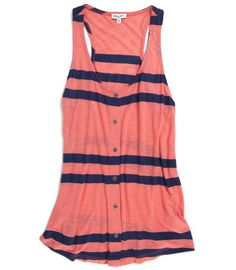 Coral + navy stripe tank top. #earnyourstripes