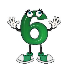 Zahl - Nummer / Number - 6 - Sechs / Six - Gif