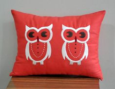 Twin Owls Lumbar Pillow Cover, Decorative Pillow Cover, Off White Owl on Red Orange Linen Pillow Cover, Pillow Case 12 x Cushion Cover Linen Pillows, Cushions, Throw Pillows, Linen Fabric, Owl Nursery Decor, Owl Embroidery, Owl Cushion, Owl Pictures, Owl Pics