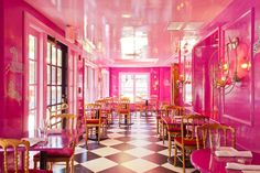 UpStairs on the Square, Harvard Square. Go ahead, fall down the rabbit hole. There's the more casual but still colorful The Monday Club Bar downstairs, and then the totally fairy tale Soirée Dining Room, featuring two working fireplaces and more pink and gold than you can shake a scepter at. [Photo: Cal Bingham]