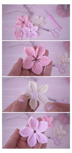 Crochet Flower Tutorial, Crochet Flowers, Easy Crochet Flower, Free Crochet Flower Patterns, Knitted Flowers Free, Crochet Motif, Crochet Designs, Crochet Art, Crochet Crafts