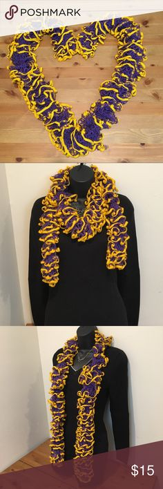 """Purple and gold crochet scarf Ravens Vikings ECU Show your team pride in this great purple and gold crochet scarf! Ravens fans, Vikings fans, ECU Pirates fans, LSU Tigers fans - show off your team colors. Size: approx 62"""" long x 4"""" wide. Smoke free home. Would make a great gift! Accessories Scarves & Wraps"""