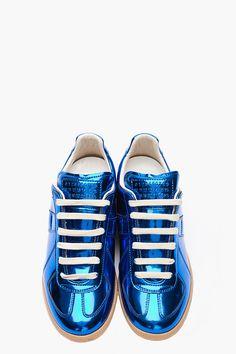 Maison Martin Margiela Vivid Blue Metallic Leather Low Top Sneakers