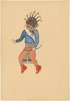"""Fred Kabotie, """"Tasanaiyo (Walpi), A Chief Kachina from First Mesa,"""" c. gouache over graphite on wove paper Native American Heritage Month, Native American Art, American Indians, National Gallery Of Art, Art Object, Gouache, Graphite, Nativity, Artists"""