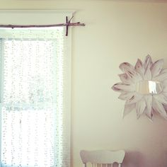 Fun and easy curtain rod using twigs… adore! Hunting Bedroom, Comfortable Living Rooms, Cool Diy Projects, Simple House, Curtain Rods, House Tours, Outdoor Spaces, My House, Living Room Decor