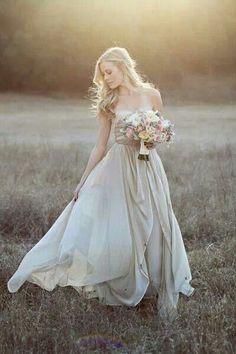 Tan and cream wedding dress