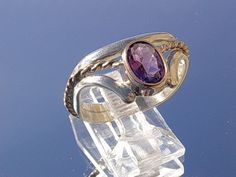 Sterling/9kt Rose Gold Amethyst Ladies Ring from heartofjewels on Ruby Lane