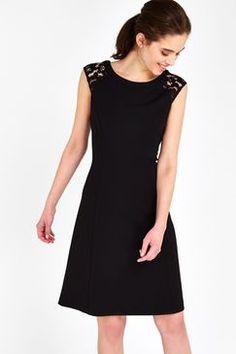 Black Lace Shoulder Fit And Flare Dress