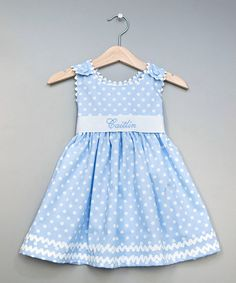 Take a look at this Blue Polka Dot Personalized Sash Dress - Infant, Toddler  Girls on zulily today!