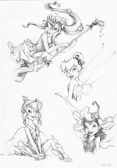 Disney Fairies: Bess, Tinkerbell, Beck & Lily Artwork by LitttleGreenFrog