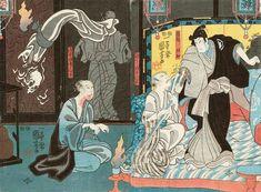 Utagawa Kuniyoshi - Leftside - Ichikawa Kodanji IV as the ghost of Shingo Asakura, Rightside - Ichikawa Kodanji IV as the ghost of Asakura Tôgo, Japanese Drawings, Japanese Artwork, Japanese Painting, Kuniyoshi, Japanese Illustration, Traditional Paintings, Museum Collection, Woodblock Print, Asian Art