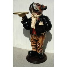 3 Tall Butler Snobby Statue Wine Waiter With Gold Leaf