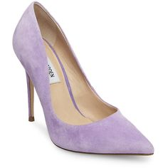 Steve Madden Daisie Stiletto Pumps (€74) ❤ liked on Polyvore featuring shoes, pumps, heels, lavender suede, sexy pumps, lavender pumps, leather pointed toe pumps, leather shoes and steve madden shoes