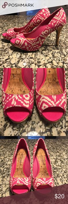 Pink/off white High Heels Pink/off white design cork heels. Only worn once! Shoes Heels