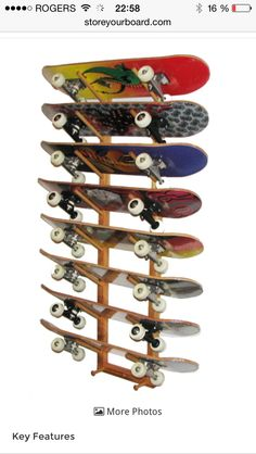 Skateboard Wall Storage Rack 8 Boards Angle By On Etsy