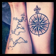 world map / compass...I love these as a pair of tattoos