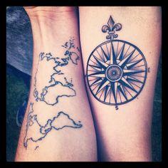 world map / compass