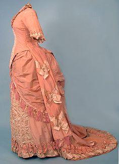 Pink silk reception gown, 1878-80