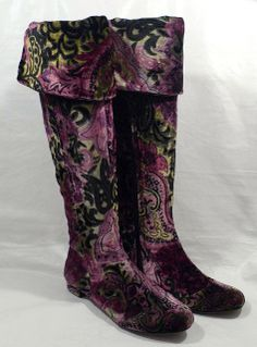 "BORN Crown ""Salia"" FANTASY mulicolor PAISLEY VELVET knee/over knee boots."