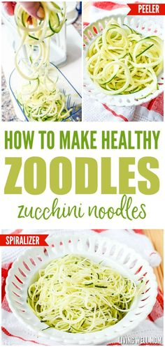 "On a grain-free diet or simply trying to eat better? You won't believe how easy these Zoodles (Zucchini Noodles) are to make! Find out how to make them with a basic peeler OR spiralizer and you'll see just how delicious these healthy ""noodles"" are!"