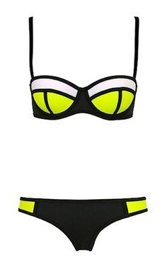 Kendra Lolli Color Block Bikini - Neon Yellow, White & Black from RawGlitter.com